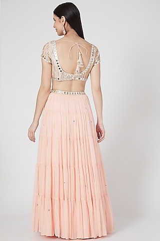 Blush Pink Embroidered Lehenga Set by Seams Pret & Couture
