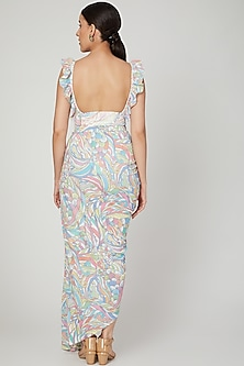 Multi Colored Printed Ruffled Wrap Skirt Set by Simply Simone