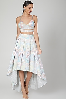 Multi Colored Printed High-Low Skirt Set by Simply Simone