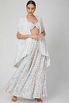 Multi Colored Printed Skirt Set With Cape by Simply Simone