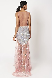 Blush Pink Sequins Embellished Gown by SImply Simone