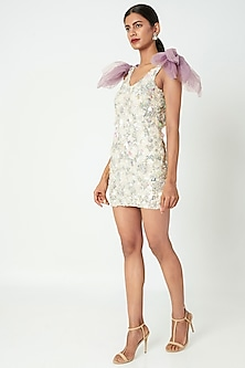 White Embellished Mini Dress With Shoulder Patch by SImply Simone