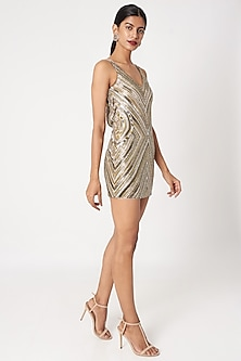 Gold & Silver Embellished Mini Bodycon Dress by SImply Simone