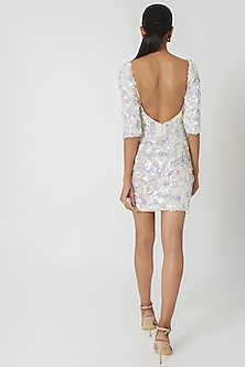 White Embellished Knee Length Dress by SImply Simone