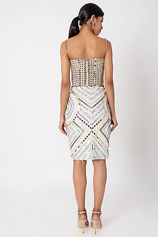 White Embellished Pencil Skirt by SImply Simone
