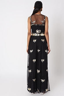 Black Embroidered Pant Set With Cape & Waistband by SImply Simone
