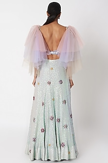 Mauve Embellished Tulle Sleeved Crop Top With Lehenga by SImply Simone