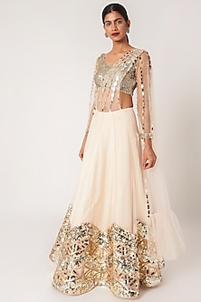 Peach Embroidered Lehenga Set by SImply Simone