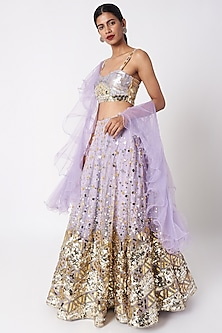 Lavender Embroidered Lehenga Set by SImply Simone