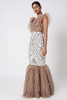 Grey Fish Cut Embroidered Gown With Detachable Ruffles by SImply Simone