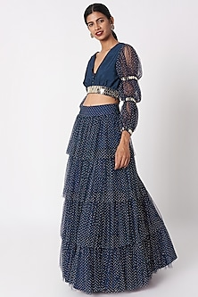 Dark Blue Embellished Top With Skirt by SImply Simone