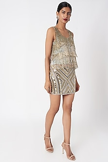 Gold & Silver Embellished Skirt by SImply Simone