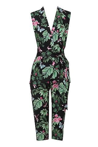 Black Floral Printed Jacket and Capri Pants Set by Sonam Parmar