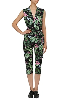 Black Floral Printed Jacket and Capri Pants Set by Sonam Parmar