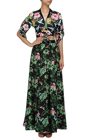 Black Floral Printed Top and Skirt Set by Sonam Parmar