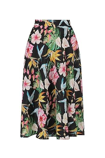 Black Floral Printed Flared Skirt by Sonam Parmar