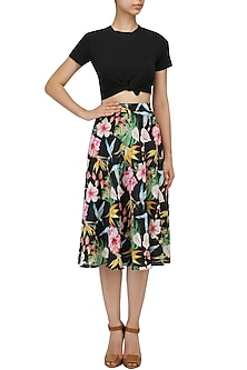Black Floral Printed Flared Skirt by Sonam Parmar