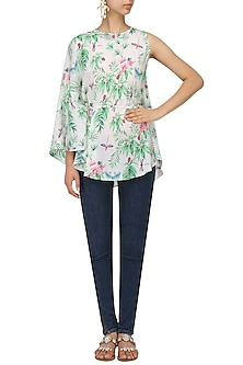 White Floral Printed Cape Top by Sonam Parmar