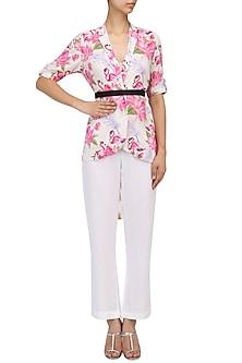 White Floral Printed Overlap Jacket by Sonam Parmar