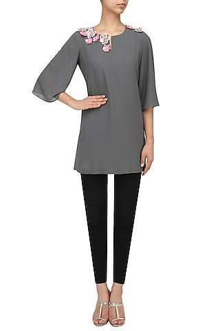 Grey Sequins Embroidered Top by Sonam Parmar