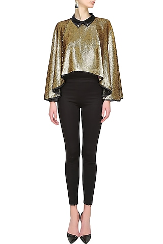 Bold gold sequin cape by Sonam Parmar