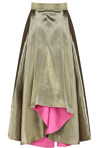 Antique gold dramatic pleated skirt by Sonam Parmar
