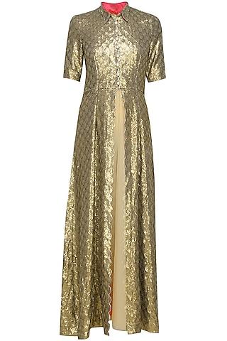 Gold scallop sequin jacket by Sonam Parmar