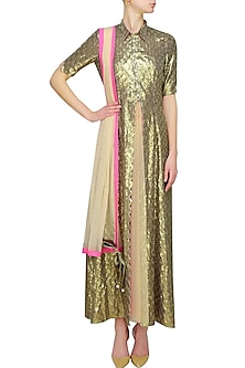 Gold scallop sequin jacket by Sonam Parmar