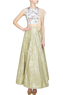 beige floral printed crop top with shoulder flare by Sonam Parmar
