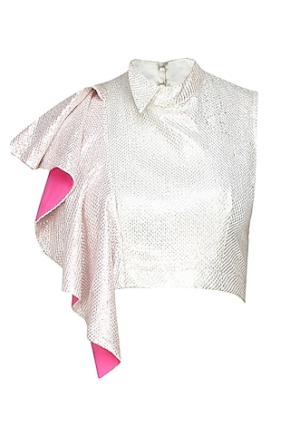 White sequin crop top with shoulder flare by Sonam Parmar