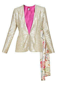 Light gold sequin quaint blazer by Sonam Parmar