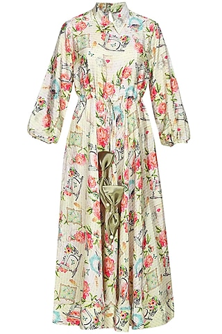 Beige floral and text printed dress by Sonam Parmar