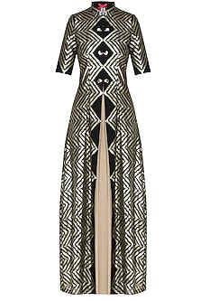 Black zig zag long front open jacket by Sonam Parmar