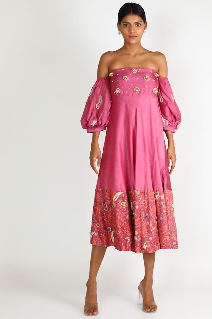 Fuchsia Embroidered Off Shoulder Dress by Shreya Agarwal