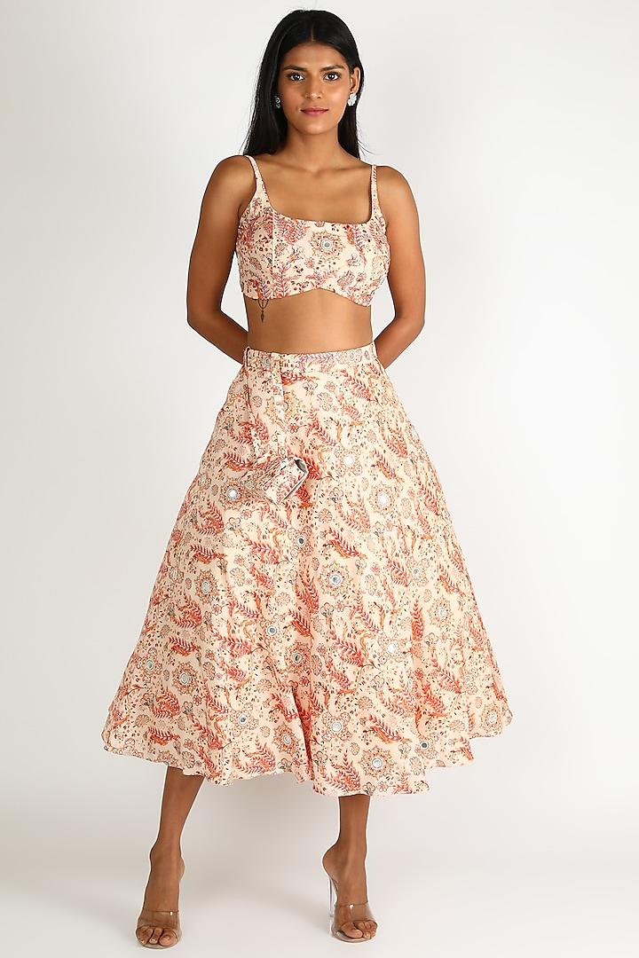 White Hand Embroidered Skirt Set by Shreya Agarwal