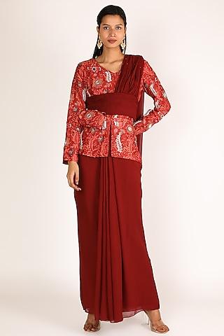 Red Printed Pre Draped Saree Set With Bag by Shreya Agarwal