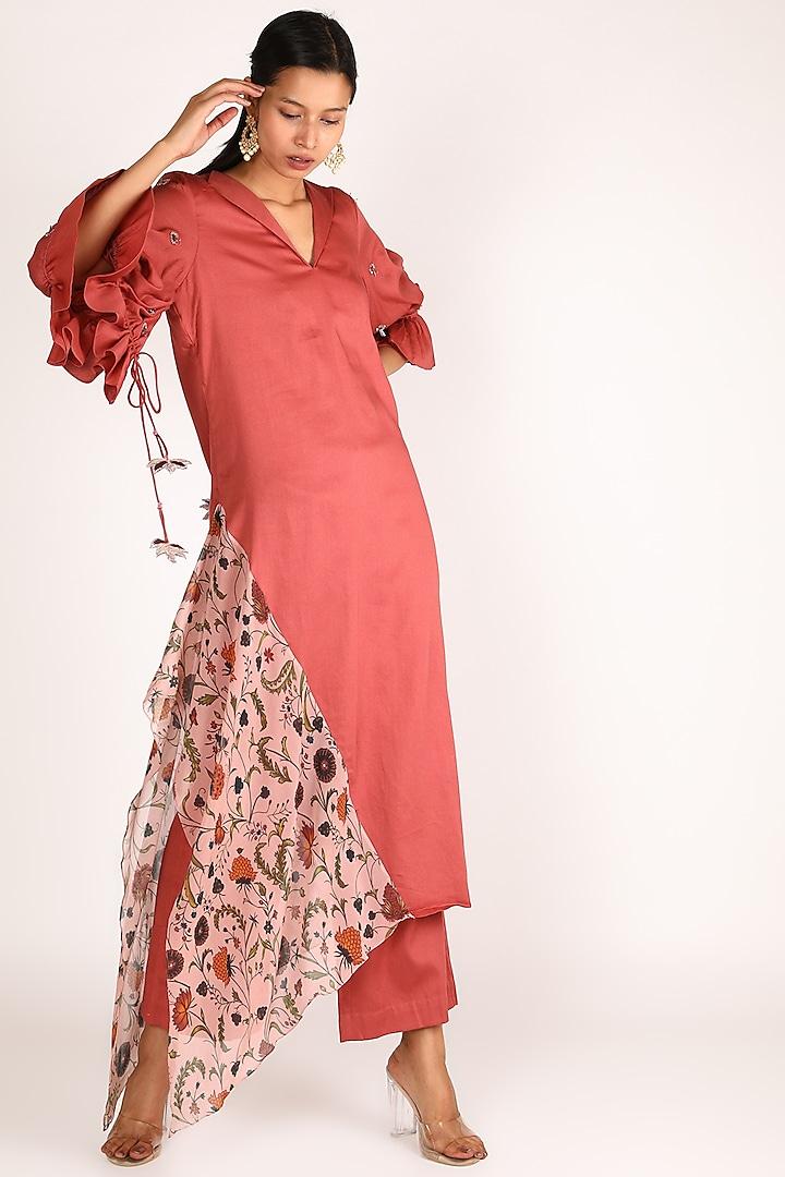 Pink Printed Kurta With Pants by Shreya Agarwal