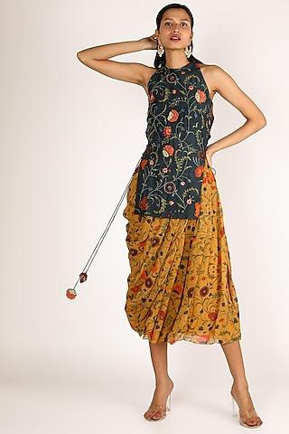 Cobalt Blue & Mustard Printed Skirt Set by Shreya Agarwal
