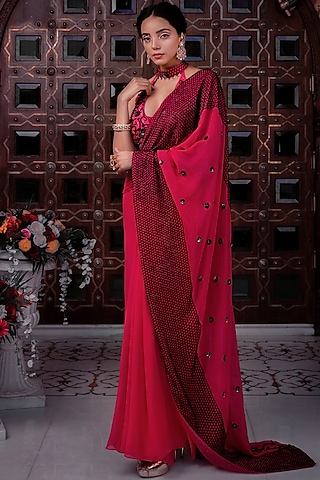 Fuchsia Embellished Saree Set by Shreya Agarwal