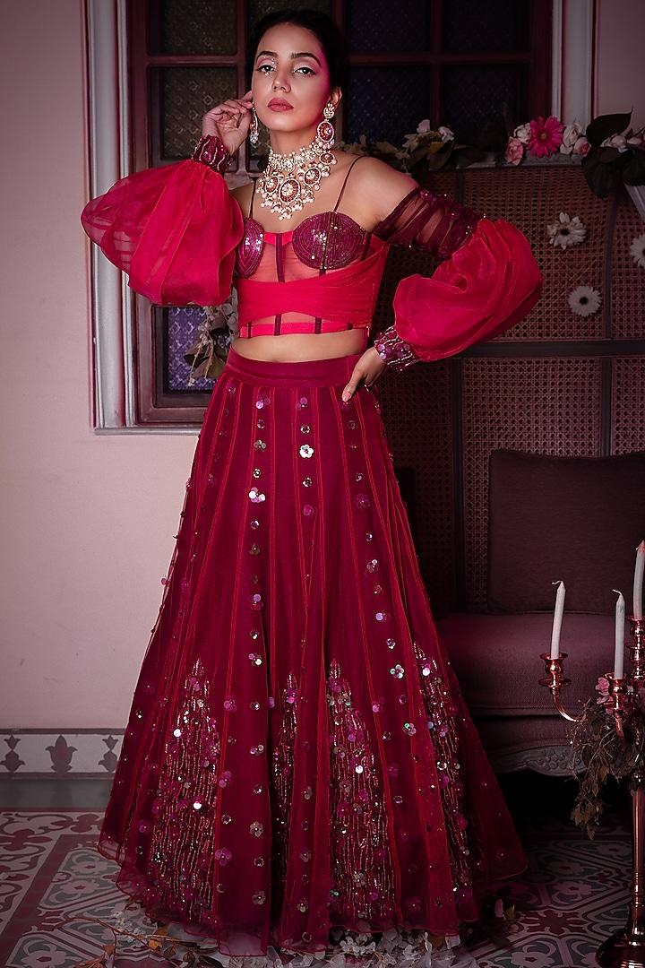 Wine & Pink Floral Kalidar Lehenga Set by Shreya Agarwal