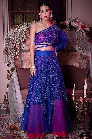 Blue Handkerchief Lehenga Set by Shreya Agarwal
