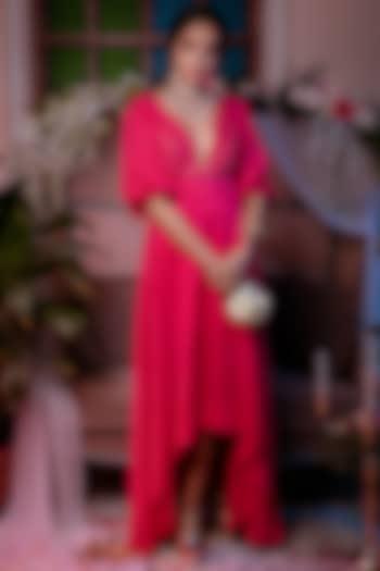 Pink Peacock High-Low Dress by Shreya Agarwal