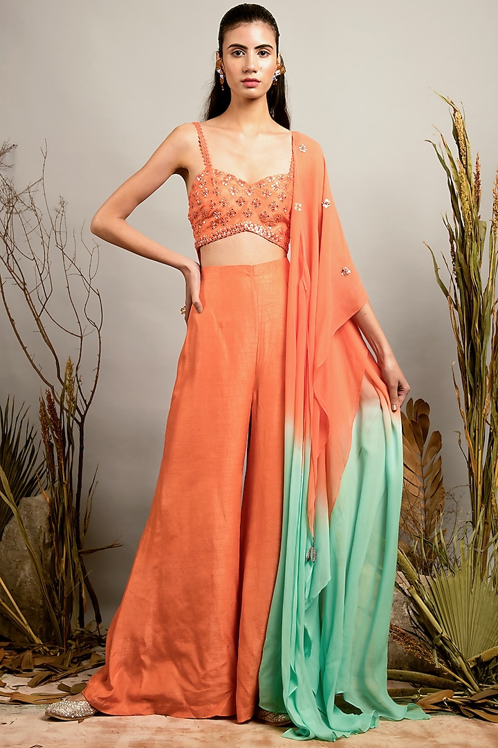 Cantaloupe & Biscay Green Mirror Work Jumpsuit With Cape by Shreya Agarwal