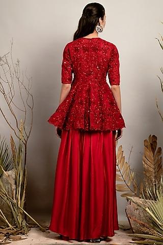 Flame Scarlet Red Embroidered Kurta Set by Shreya Agarwal