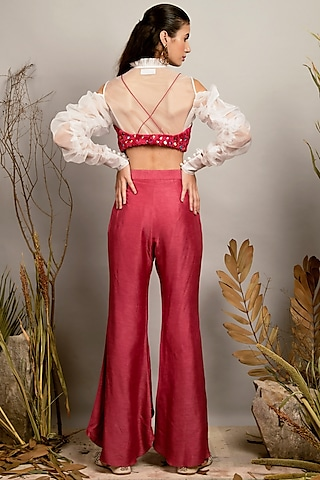 Cassic Pink & White Pant Set by Shreya Agarwal