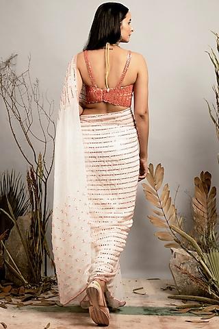 White & Cantaloupe Embellished Saree Set by Shreya Agarwal