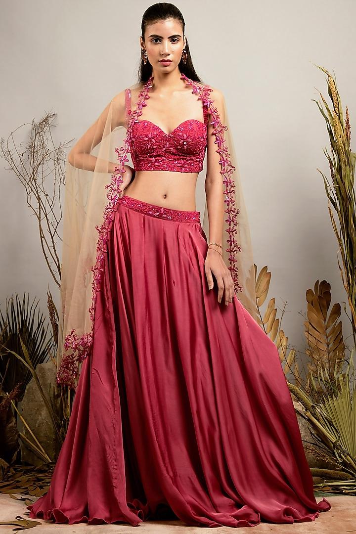 Cassic Pink & Sunlight Sand Embroidered Lehenga Set by Shreya Agarwal