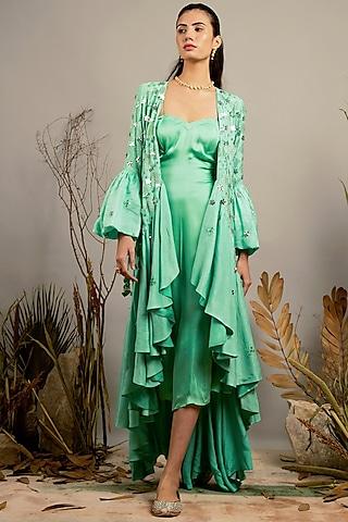 Biscay Green Embellished Ruffled Jacket Set by Shreya Agarwal
