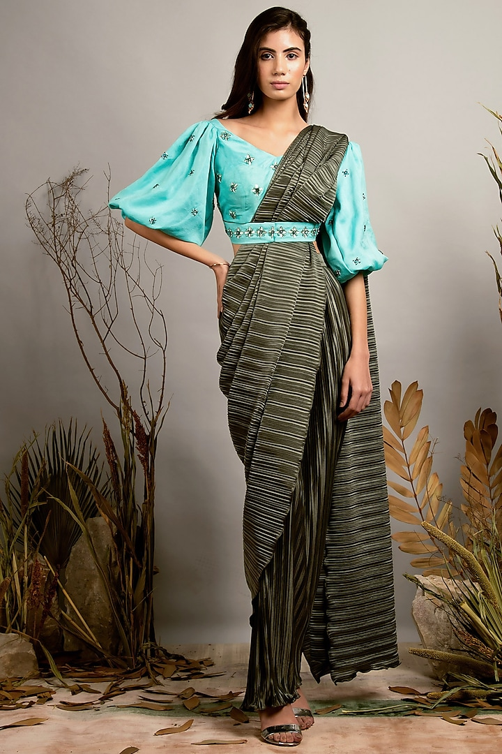 Chive & Purist Blue Pleated Pre-Stitched Saree Set by Shreya Agarwal
