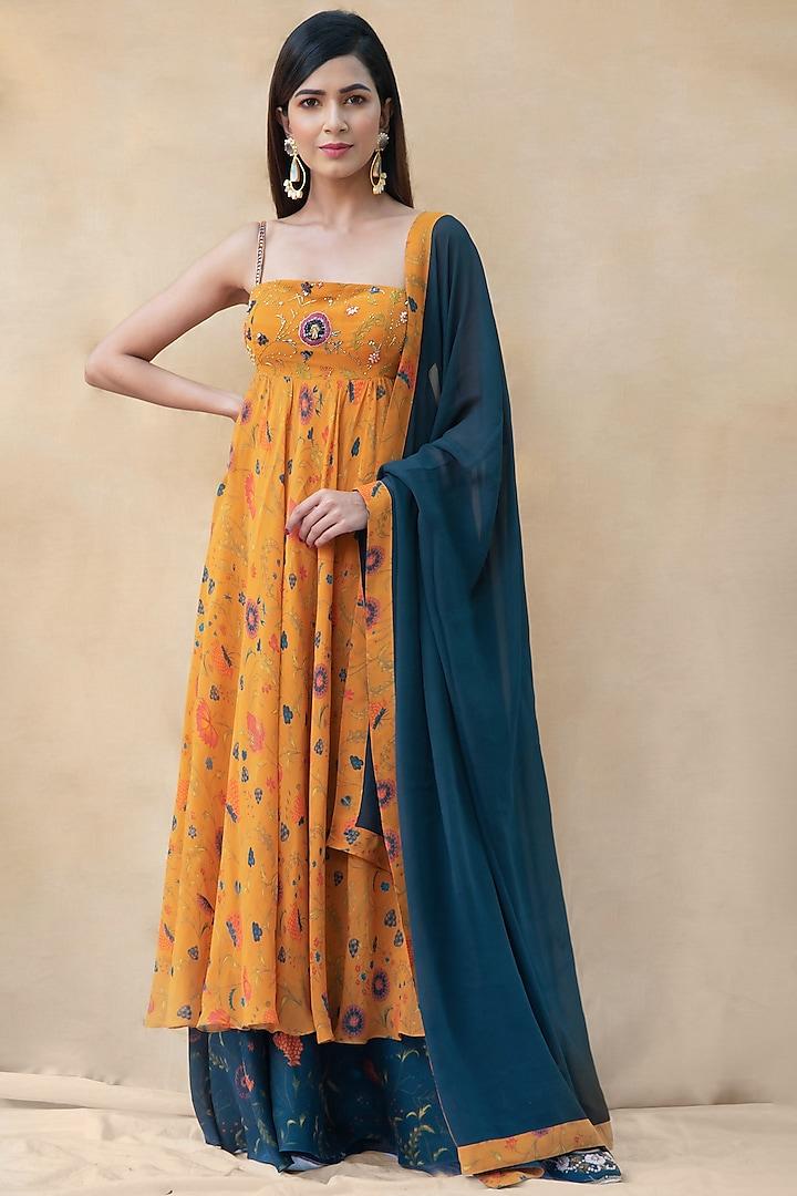 Old Gold & Blue Pansy Anarkali Set by Shreya Agarwal